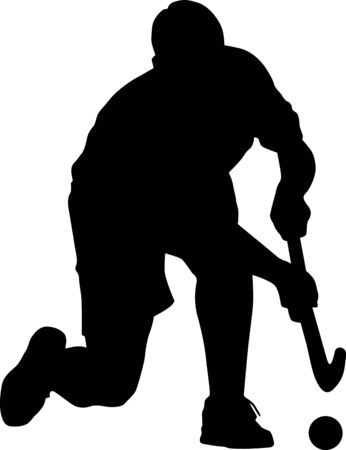 Silhouette of field hockey player with a hockey stick. Vector illustration 일러스트