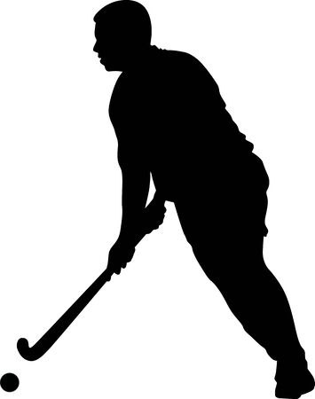 Silhouette of field hockey player with a hockey stick. Vector illustration Vectores