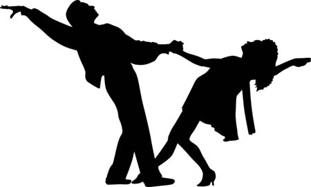 Vector silhouette of a dancing woman and man. Vector dance couple illustration