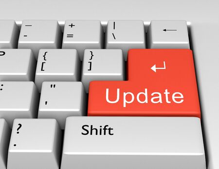 Word Update written on a computer keyboard. Conceptual image on a computer key Enter. 3d rendering Foto de archivo