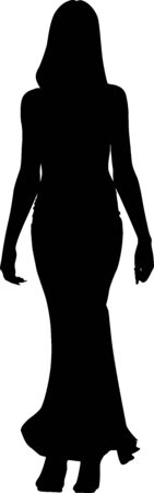 Vector silhouette of a fashionable woman in a long dress who is walking