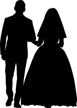 Vector silhouette of a bride and groom holding hands. The wedding couple is looking at each other. Wedding couple goes forward