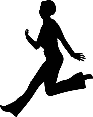 Silhouette of a running woman who runs fast. Vector illustration