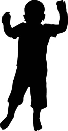 Silhouette of a playing and jumping happy boy. Vector illustration