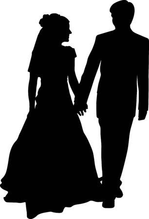Silhouette vecteur d'une mariée et le marié main dans la main. Le couple de mariage se regarde