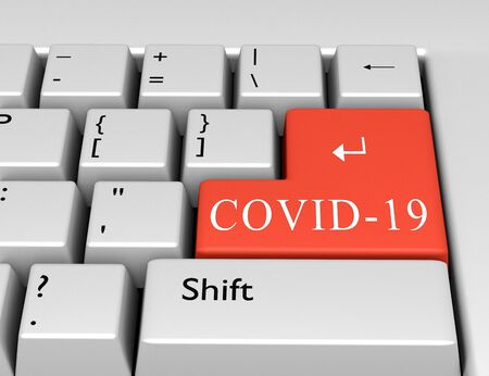 Word COVID-19 written on a computer keyboard. Conceptual image on a computer key Enter. 3d rendering
