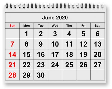 One page of the annual monthly calendar - month June 2020