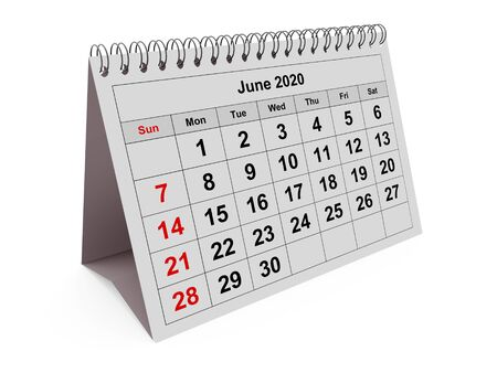 One page of the annual monthly calendar - month June 2020. 3d rendering