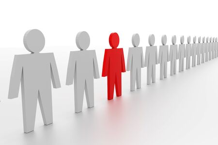 Business concepts illustration. Individuality and leadership in team. 3d rendering Stock Photo