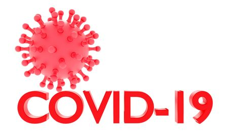 Coronavirus. Red word COVID-19 isolated o white background. 3d rendering