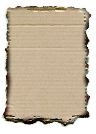 Background of antique vintage burnt paper cardboard on white Stock Photo
