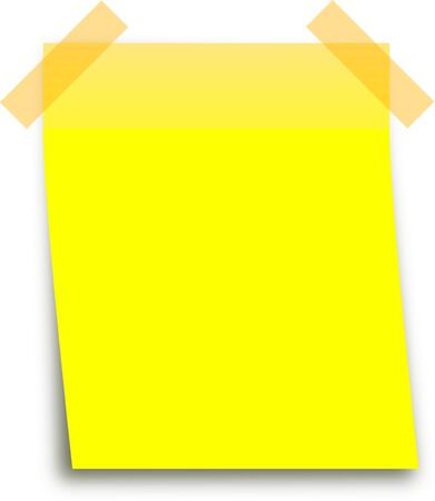 Business paper background. Yellow blank reminder note on white Stock Photo