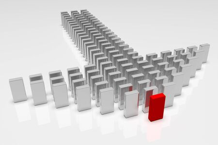 Illustration of leader leads the team forward. Business concepts. 3d rendering Stock Photo