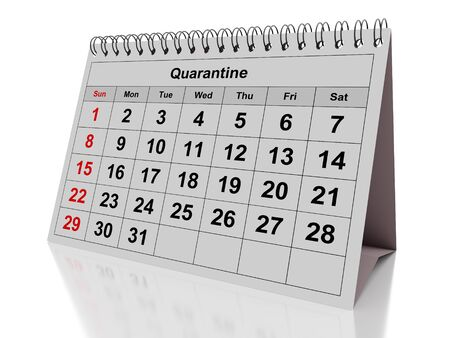 Concept monthly calendar with the word quarantine isolated on white. 3d rendering