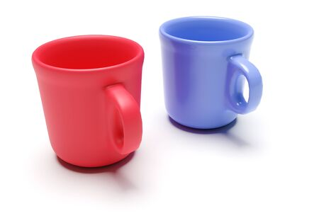 Two cups (red and blue) isolated on white background. 3d rendering