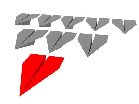 Leadership concept. One red leader plane leads other grey planes forward. 3d rendering