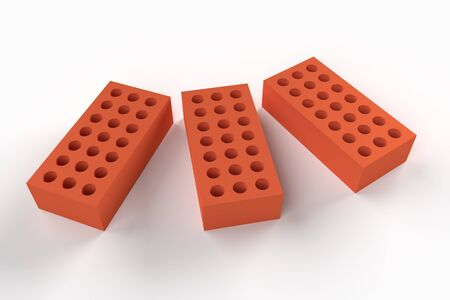Three bricks isolated on white background. Construction concept. 3d rendering Stock Photo