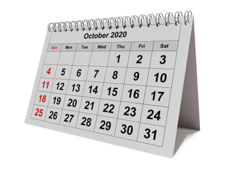 One page of the annual monthly calendar - month October 2020. 3d rendering