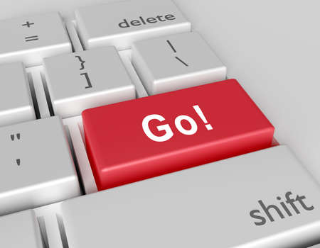 Word Go! written on a computer keyboard. Conceptual image on a computer key Enter. 3d rendering Banque d'images