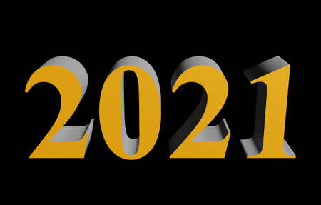 Number 2021 for New Year holiday isolated on black background. 3d rendering