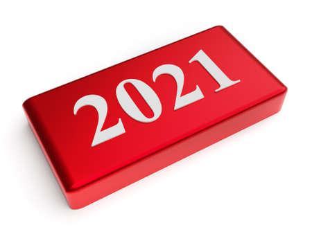 Red button with number 2021. New year concept. 3d rendering Imagens