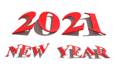 New year concept. Red slanted numbers 2021 isolated on white. 3d rendering Stock Photo
