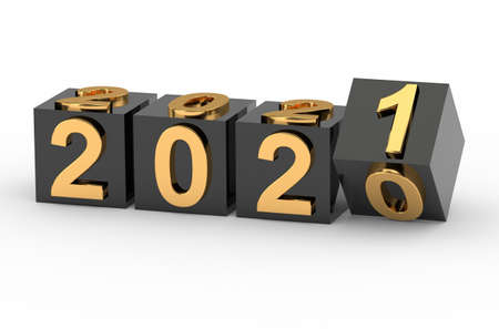 New year concept. Cubes with number 2021 replace 2020.3d rendering