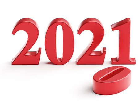 The new year 2021 replaces the old 2020.3d rendering