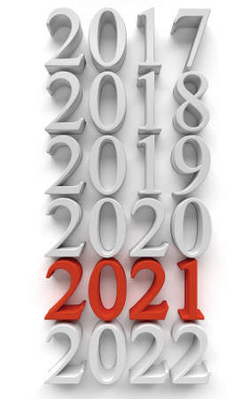Red number of new 2021 year near old years. 3d rendering Stock Photo