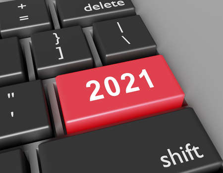 Celebration concept. Number 2021 you on button of computer keyboard. 3d rendering