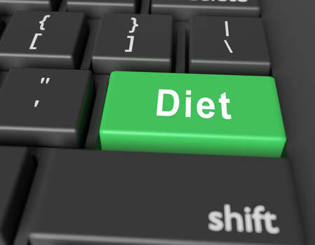 Nutrition concept. Word Diet on button of computer keyboard. 3d rendring Banco de Imagens