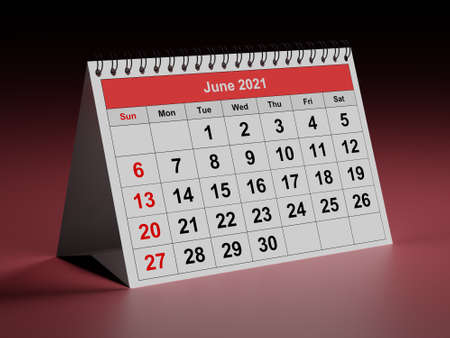 One page of the annual monthly calendar - month June 2021. 3d rendering