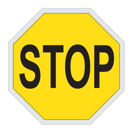 Yellow stop sign isolated on white. Vector illustration