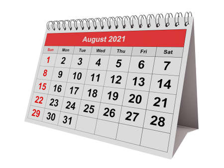 One page of the annual monthly calendar - August 2021 Stock fotó