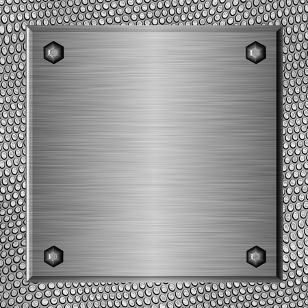 Shiny brushed metal plate against abstract background Stock Photo - 9861138