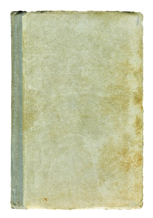 textured paper background: Obsolete dirty scuffed book cover isolated over white Stock Photo