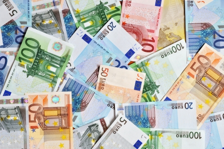 money euro: Pile of euro currency banknotes background