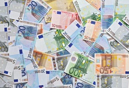 Pile of euro currency banknotes background photo