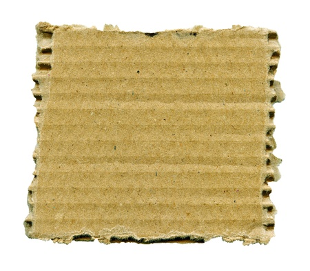 Textured striped cardboard with torn edges isolated over white photo