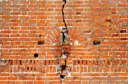 Ancient red bricks cracked wall background Stock Photo - 12590149