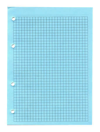 Green lined notebook paper with holes isolated on white photo