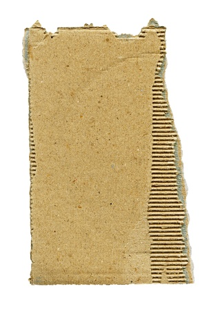 Textured cardboard with torn edges isolated over white photo