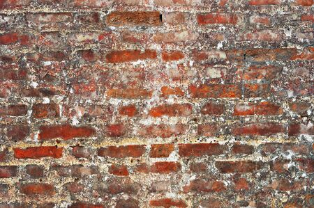Old red bricks weathered damaged wall background Stock Photo - 13148772
