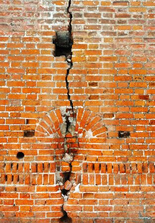 Ancient red bricks cracked wall background Stock Photo - 13202924