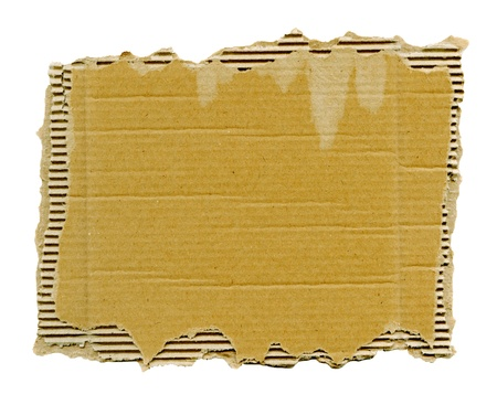 Textured striped cardboard with torn edges isolated over white Stock Photo - 13743671
