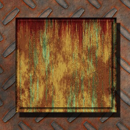 patina: Abstract generated rust metal over diamond plate background