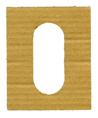 Textured striped cardboard with hole isolated over white photo