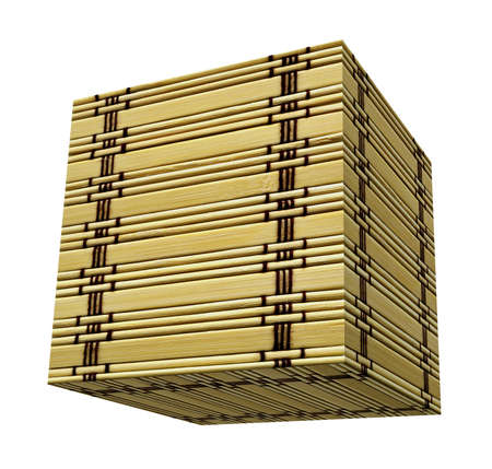 Textured bamboo cube box isolated over white photo