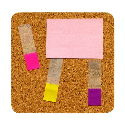 Cork board with sticky notes isolated on white photo