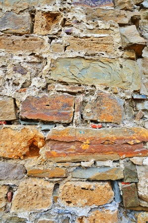 Old weathered damaged stone wall vintage background photo